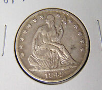 1849 O SEATED LIBERTY HALF DOLLAR XF CONDITION NEW ORLEANS MINT 10716