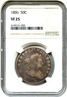 1806 50C NGC VF25 - PRETTY RIM TONING - BUST HALF DOLLAR - PRETTY RIM TONING