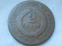 1868 TWO 2 CENT PIECE- CIVIL WAR TYPE COIN- VG REVERSE DETAILS