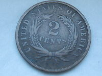 1867 TWO 2 CENT PIECE- CIVIL WAR TYPE COIN- FINE/VF DETAILS, FULL REVERSE RIMS