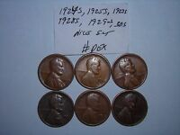 WHEAT CENT LOT 1924-S,1925-S,1927-S,1928-S,1929-S,1930S SET OF 6 LINCOLN CENTS