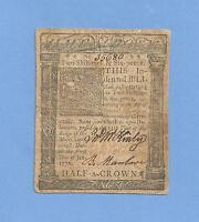 1776 TWO SHILLING SIX PENCE DELAWARE COLONIAL CURRENCY FINE SHARP