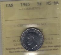 1945 CANADA FIVE CENTS COIN. ICCS MS 66 UNC