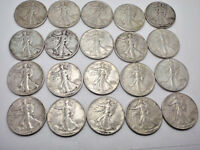 LOT OF 20 WALKING LIBERTY HALF DOLLARS ALL IN THE 1940'S