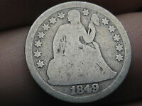 1849 P SEATED LIBERTY SILVER DIME  GOOD/VG DETAILS FULL DATE