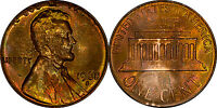 1968 S LINCOLN MEMORIAL CENT TONED