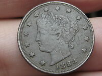 1883 LIBERTY HEAD V NICKEL  WITH CENTS  VF/XF DETAILS FULL RIMS