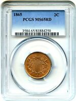 1865 2C PCGS MINT STATE 65 RD - PRETTY, RED GEM - 2-CENT PIECE - PRETTY, RED GEM