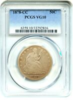 1878 CC 50C PCGS VG 10    CC MINT ISSUE   LIBERTY SEATED HALF DOLLAR
