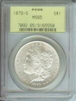 1879-S MORGAN SILVER DOLLAR S$1 PCGS MINT STATE 65 MINT STATE 65 OGH OLD GREEN HOLDER GEM