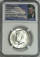 1964 P NGC MS65 SILVER KENNEDY HALF DOLLAR FIRST YEAR SIGNATURE 90  COIN JFK