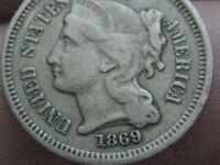 1869 THREE 3 CENT NICKEL  VF DETAILS  NEARLY FULL RIMS