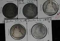 FIVE LIBERTY SEATED HALF DOLLARS   1858 1859 O 1876 1877 S 2