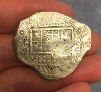 SPANISH COLONIAL COB COINAGE. SILVER 8 REALES  'PIECE OF 8' FROM THE 1600'S.