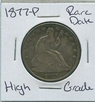 1877 P SEATED LIBERTY HALF DOLLAR  DATE SILVER US MINT COIN HIGH GRADE