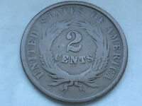 1864 TWO 2 CENT PIECE- LARGE MOTTO, VG/FINE REVERSE DETAIL, FULL REVERSE RIMS