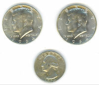 1 1964 P & 1 1964 D KENNEDY HALF DOLLARS IN UNC.CONDITION & 1 1964 D CIR.QUARTER