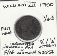 1700 WILLIAM III FARTHING   S3557