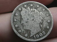 1902 LIBERTY HEAD V NICKEL- FINE/VF OBVERSE DETAILS