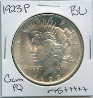 1923 P PEACE DOLLAR UNCIRCULATED US MINT COIN PQ GEM SILVER COIN BU UNC MS