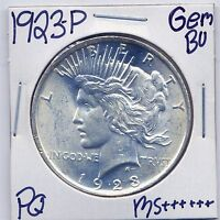 1923 P PEACE DOLLAR UNCIRCULATED US MINT GEM PQ SILVER COIN BU UNC MS