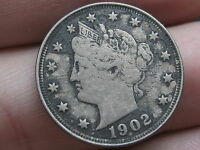 1902 LIBERTY HEAD V NICKEL- VF/EXTRA FINE  DETAILS, FULL RIMS
