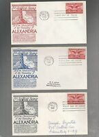 US FIRST DAY COVERS FDC   C40 AIRMAIL ALEXANDRIA  1948 BY ANDERSON LOT OF 3