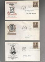 US FDC  873 BOOKER T WASHINGTON  FAMOUS AMERICANS 1940  LOT OF 3