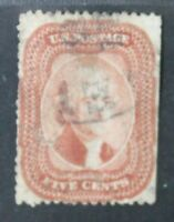 CKSTAMPS: US STAMPS COLLECTION SCOTT28A 5C JEFFERSON USED THIN, TEAR CV$3500