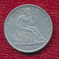 1841 O SEATED LIBERTY SILVER HALF DOLLAR STRONG SHIELD LINES