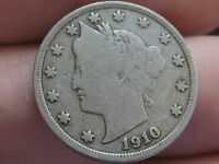 1910 LIBERTY HEAD V NICKEL- VG/FINE DETAILS, FULL DATE, FULL RIMS