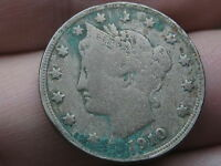 1910 LIBERTY HEAD V NICKEL- VG/FINE DETAILS