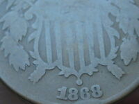 1868 TWO 2 CENT PIECE- CIVIL WAR TYPE COIN- VG REVERSE DETAILS, FULL DATE