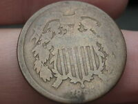 1865 TWO 2 CENT PIECE  VG REVERSE DETAILS  SLIGHTLY OFF CENTER ERROR?