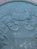 1865 TWO 2 CENT PIECE  CIVIL WAR TYPE COIN  VF DETAILS PARTIAL WE FULL DATE