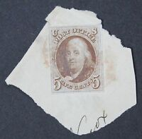 CKSTAMPS: US STAMPS COLLECTION SCOTT1 5C FRANKLIN USED ON PIECE, CREASE
