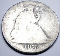 1876 S US SEATED LIBERTY SILVER HALF DOLLAR ANTIQUE VINTAGE OLD 50 CENT CURRENCY
