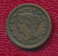 1848 BRAIDED HAIR LARGE CENT VERY NICE CIRCULATED LARGE CENT