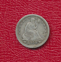 1854 SEATED LIBERTY SILVER QUARTER  CIRCULATED QUARTER SHIPS FREE