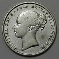 GREAT BRITAIN. 1849 SILVER SHILLING. FINE DETAILS CLEANED.