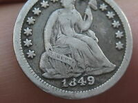 1849 SEATED LIBERTY HALF DIME FINE/VF DETAILS