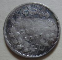 1887 CANADA SILVER FIVE CENTS COIN. KEY DATE F342