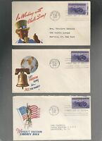 US FIRST DAY COVER FDC  925 PHILIPPINES  1944 PATRIOTIC  LOT OF 3