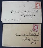CKSTAMPS: US STAMPS COLLECTION SCOTT10 11 2 USED ON COVER, 10 COVER TEAR