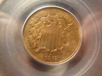 1872 PCGS PR 63 RB RED BROWN TWO CENTS 2 CENT   SLABZ