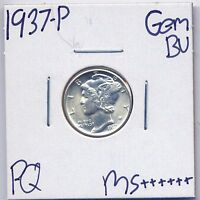 1937 P MERCURY SILVER DIME UNCIRCULATED US MINT FULL BAND COIN BU UNC MS