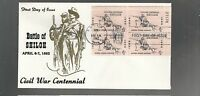 US FDC   1179 BATTLE OF SHILOH CIVIL WAR 1962  PLATE BLOCK