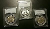 3 PCGS GRADED FRANKLIN SILVER HALF DOLLARS..1949 AU55 1951 MS64 AND 1956 MS64FBL
