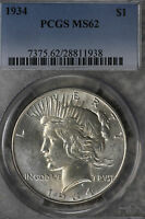 BETTER DATE UNCIRCULATED 1935 PEACE DOLLAR   PCGS MS62