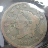 1829 CORONET HEAD LARGE CENT   COUNTER STAMPED   VG   B225